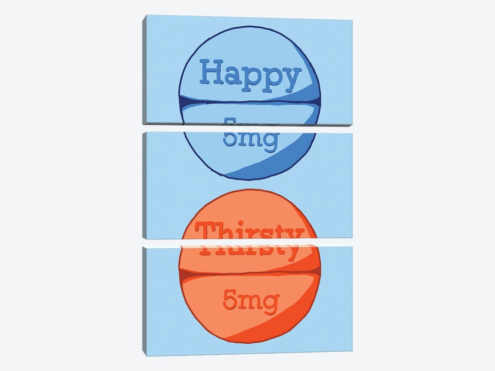 Happy Thirsty Pill Blue by Jaymie Metz 3-piece Canvas Artwork