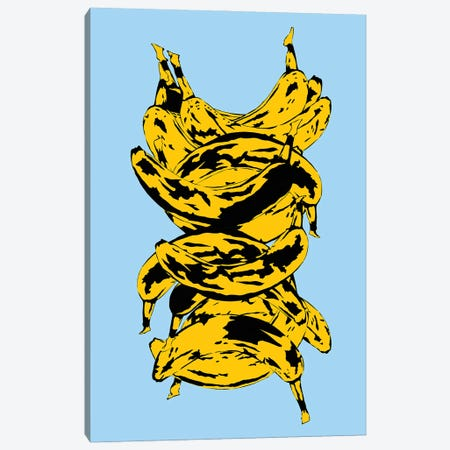 Band Of Bananas Blue Canvas Print #JYM8} by Jaymie Metz Art Print