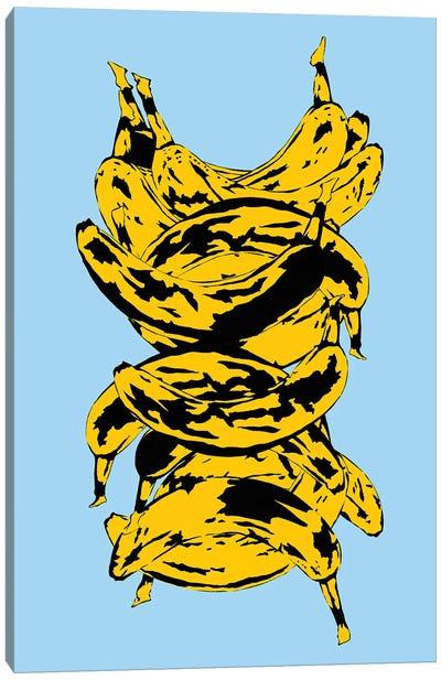 Band Of Bananas Blue Canvas Art Print