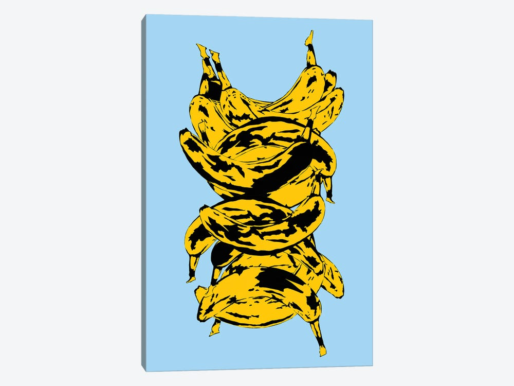 Band Of Bananas Blue by Jaymie Metz 1-piece Canvas Wall Art