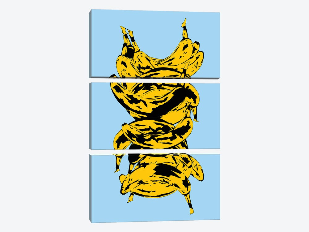 Band Of Bananas Blue by Jaymie Metz 3-piece Canvas Wall Art