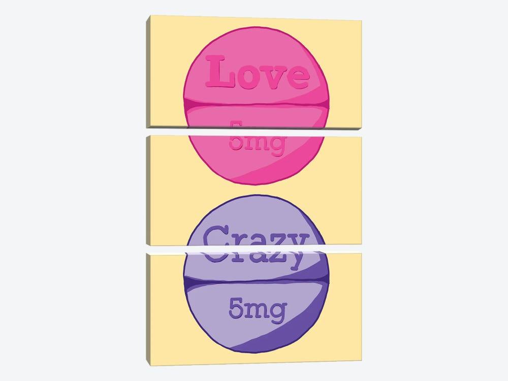 Love Crazy Pill Yellow by Jaymie Metz 3-piece Canvas Art Print
