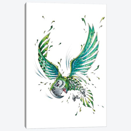 Green Parrot Slice Canvas Print #JYN21} by JAYN Canvas Print