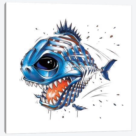 Piranha Canvas Print #JYN44} by JAYN Canvas Wall Art