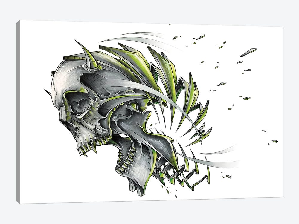 Screaming Skull Slice by JAYN 1-piece Canvas Art Print