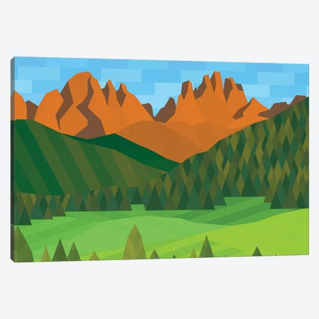 Field, Trees & Mountains Canvas Print #JYO14} by Jun Youngjin Canvas Artwork