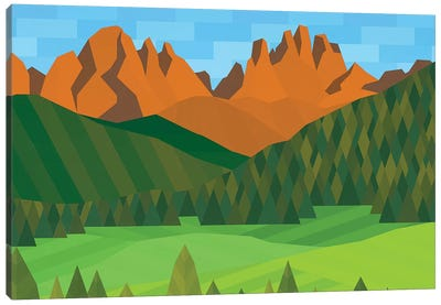 Field, Trees & Mountains Canvas Art Print