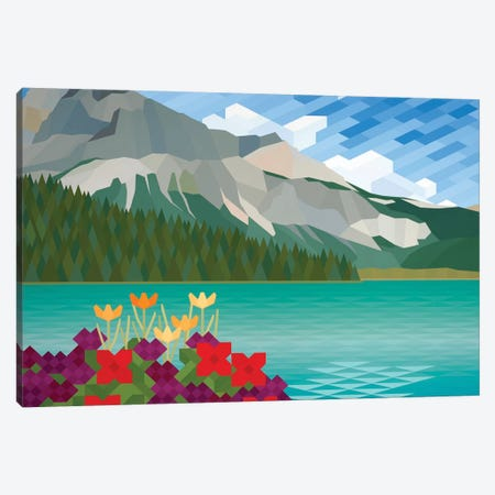 Flower and Mountains Canvas Print #JYO15} by Jun Youngjin Canvas Art