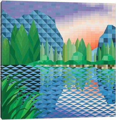 Lakeside Sunset Canvas Art Print