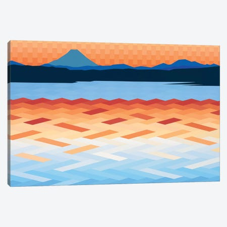 Orange and Blue Sea and Sky Canvas Print #JYO31} by Jun Youngjin Canvas Art Print