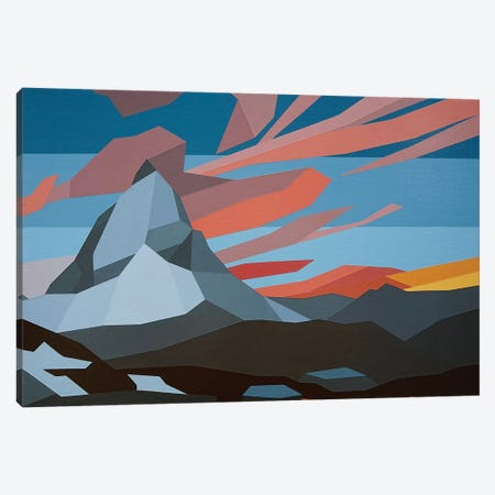 Orange Clouds Mountain Canvas Print #JYO33} by Jun Youngjin Canvas Art Print