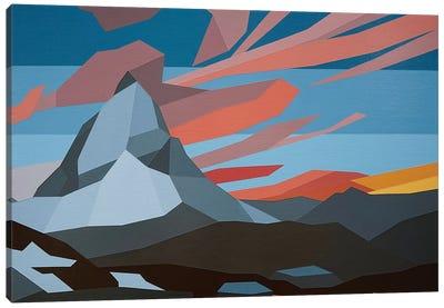 Orange Clouds Mountain Canvas Art Print