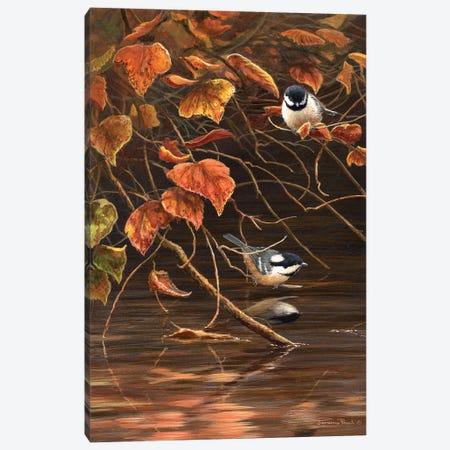 Autumn Leaves - Coal Tits Canvas Print #JYP47} by Jeremy Paul Canvas Wall Art