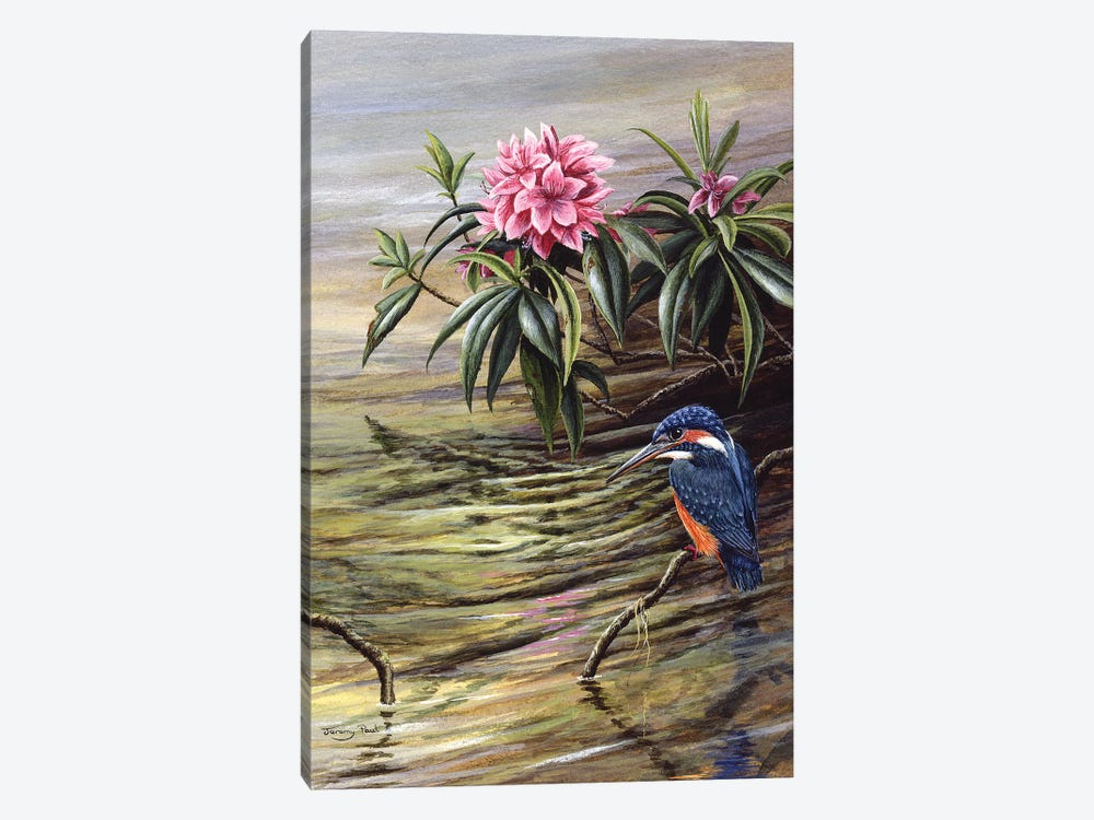 Kingfisher And Rhododendron by Jeremy Paul 1-piece Art Print