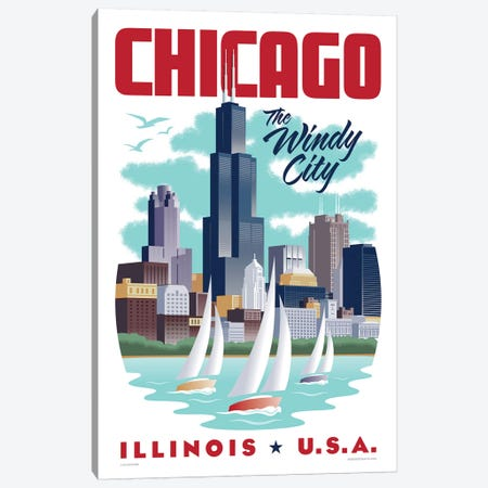 Chicago Travel Poster Canvas Print #JZA10} by Jim Zahniser Art Print