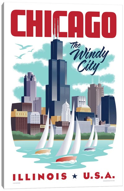 Chicago Travel Poster Canvas Art Print