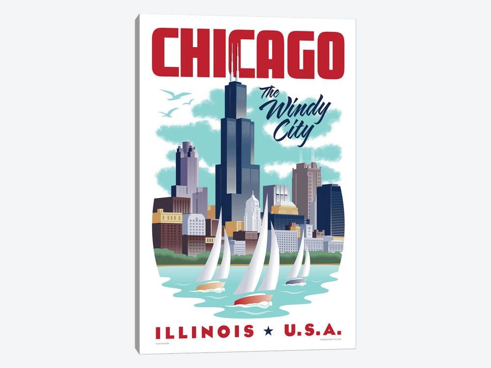 Chicago Travel Poster by Jim Zahniser 1-piece Canvas Wall Art
