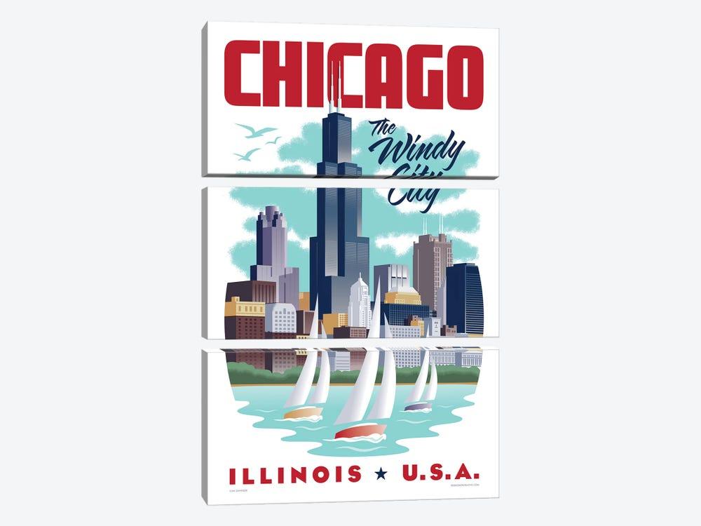 Chicago Travel Poster by Jim Zahniser 3-piece Canvas Wall Art