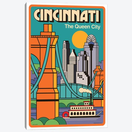 Cincinnati Travel Poster Canvas Print #JZA11} by Jim Zahniser Canvas Print