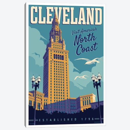 Cleveland Travel Poster Canvas Print #JZA12} by Jim Zahniser Canvas Art Print