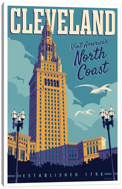 Cleveland Travel Poster Canvas Art Print