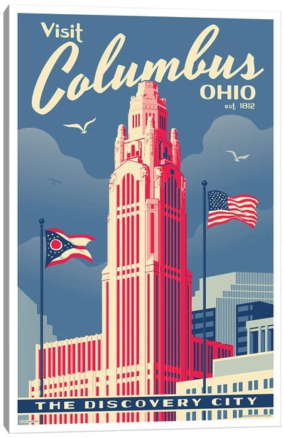 Columbus Travel Poster Canvas Art Print