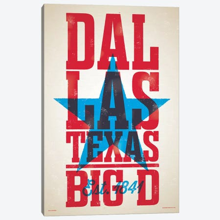 Dallas Letterpress Style Poster Canvas Print #JZA14} by Jim Zahniser Canvas Wall Art