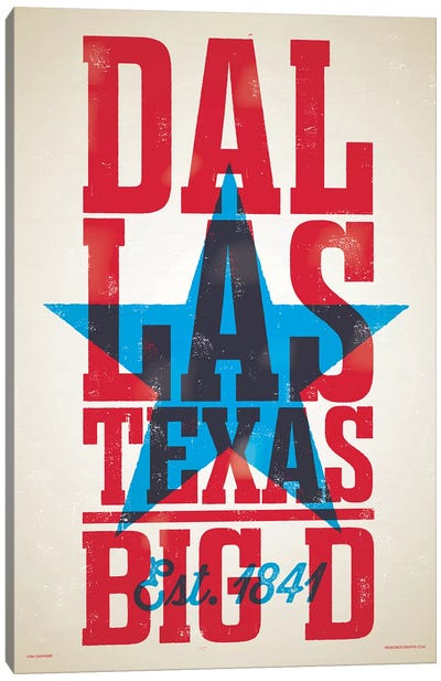 Dallas Letterpress Style Poster Canvas Art Print