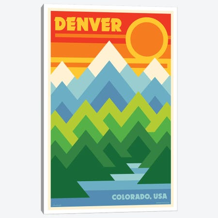 Denver Retro Travel Poster Canvas Print #JZA15} by Jim Zahniser Canvas Artwork