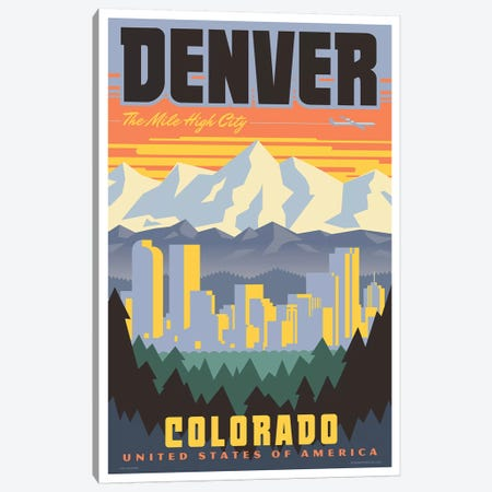 Denver Travel Poster Canvas Print #JZA16} by Jim Zahniser Canvas Wall Art