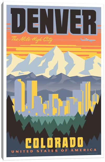 Denver Travel Poster Canvas Art Print