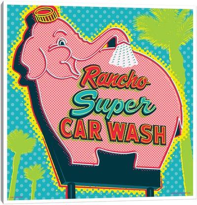 Elephant Car Wash Rancho Canvas Art Print