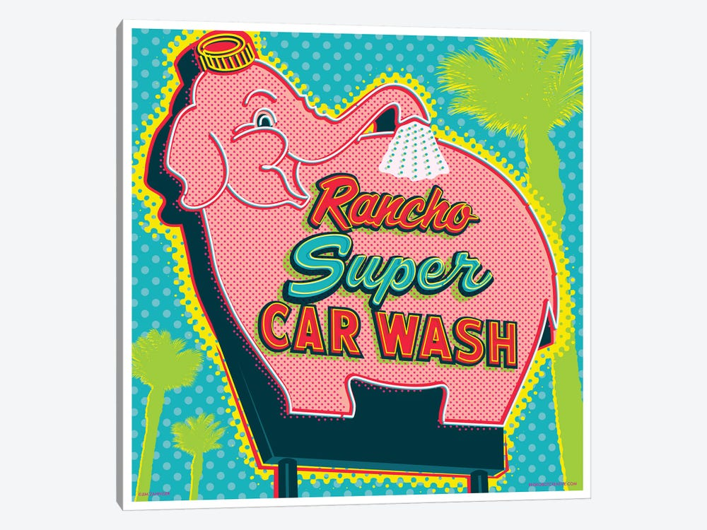 Elephant Car Wash Rancho by Jim Zahniser 1-piece Art Print