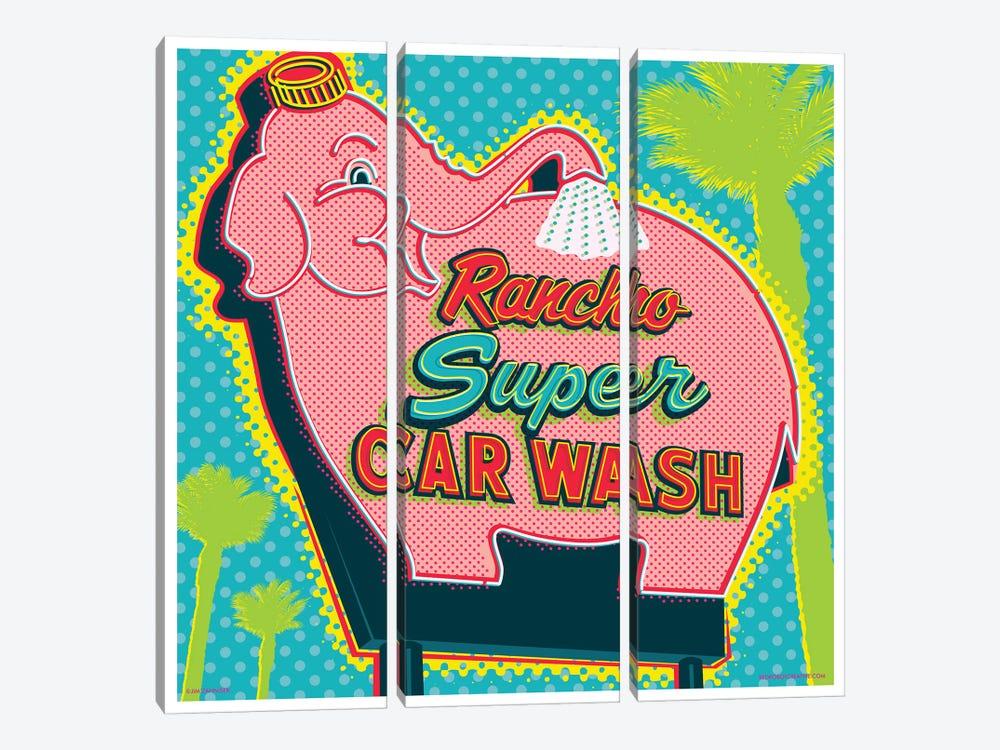 Elephant Car Wash Rancho by Jim Zahniser 3-piece Canvas Art Print