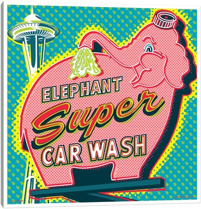 Elephant Car Wash Seattle Canvas Art Print