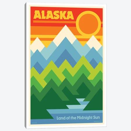 Alaska Retro Travel Poster Canvas Print #JZA1} by Jim Zahniser Canvas Wall Art