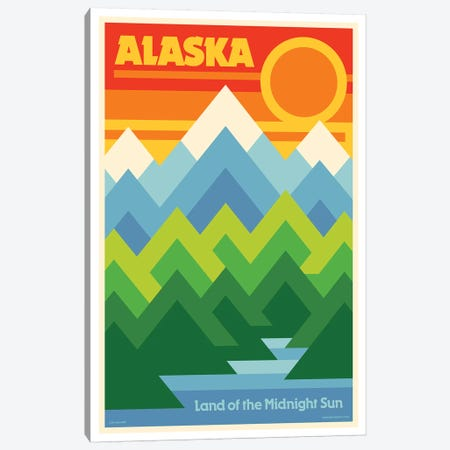 Alaska Retro Travel Poster Canvas Print #JZA1} by Jim Zahniser Canvas Wall Art