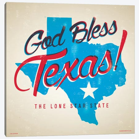 God Bless Texas Poster Canvas Print #JZA20} by Jim Zahniser Canvas Artwork