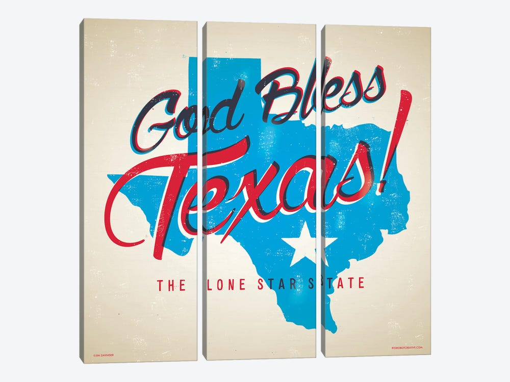God Bless Texas Poster by Jim Zahniser 3-piece Canvas Print