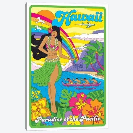 Hawaii Pop Art Travel Poster Canvas Print #JZA21} by Jim Zahniser Canvas Wall Art