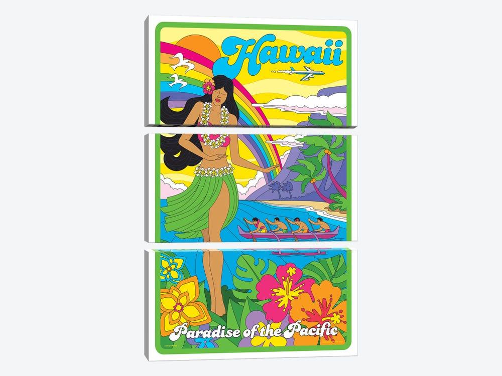 Hawaii Pop Art Travel Poster by Jim Zahniser 3-piece Canvas Art