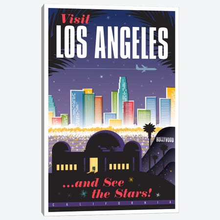 Los Angeles Travel Poster Canvas Print #JZA22} by Jim Zahniser Canvas Wall Art
