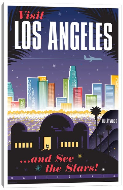 Los Angeles Travel Poster Canvas Art Print