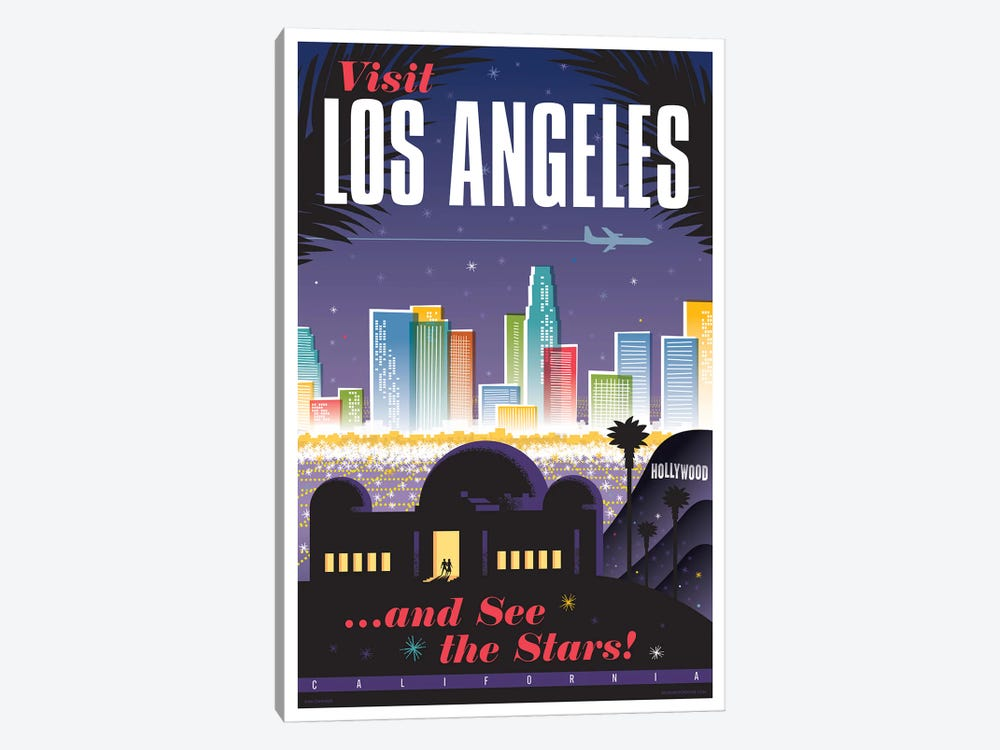 Los Angeles Travel Poster by Jim Zahniser 1-piece Canvas Print