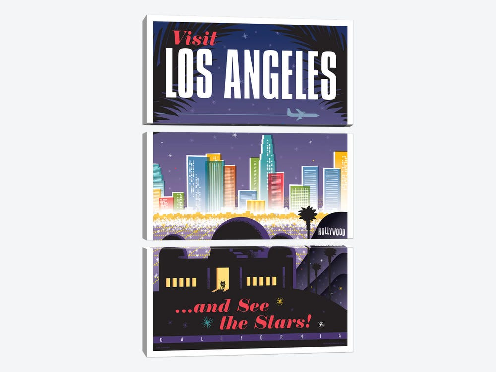 Los Angeles Travel Poster by Jim Zahniser 3-piece Canvas Art Print