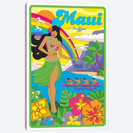 Maui Pop Art Travel Poster Canvas Print #JZA23} by Jim Zahniser Canvas Art
