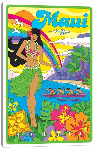 Maui Pop Art Travel Poster Canvas Art Print