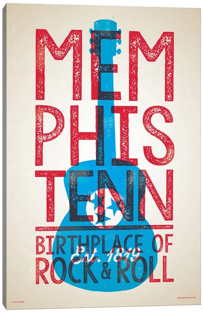 Memphis Birthplace of Rock-n-Roll Letterpress Style Poster Canvas Art Print