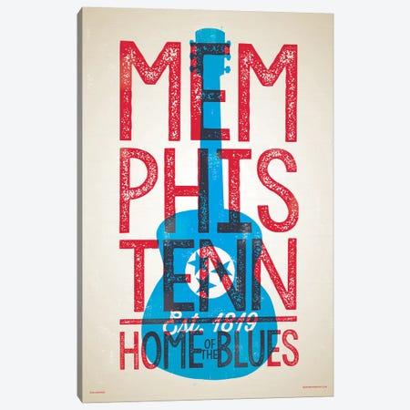 Memphis Home of the Blues Letterpress Style Poster Canvas Print #JZA25} by Jim Zahniser Art Print