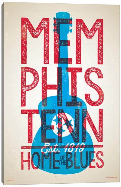Memphis Home of the Blues Letterpress Style Poster Canvas Art Print